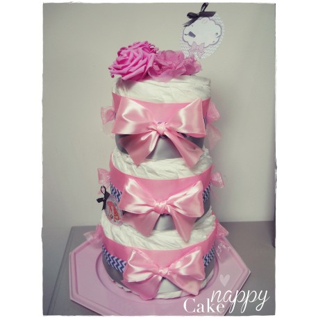 Gateau de couches Elegance 3 étages rose gris Nappy Cake