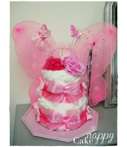 Gateau de couches Baby Fée rose Nappy Cake