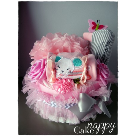 Gateau 1 étage rose et gris ensemble body legging Nappy cake