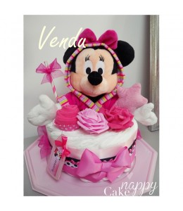 Gateau de couches Minnie rose girly Nappy Cake
