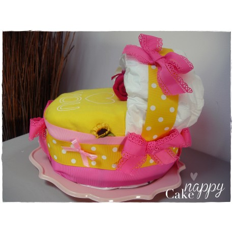 Couffin de couches rose jaune petit clown Nappy Cake créations