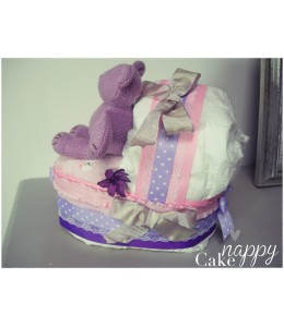 Couffin de couches rose et violet Nounours Nappy Cake