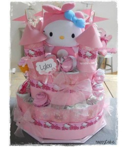 Gateau de couches Chateau fort de couches Hello Kitty