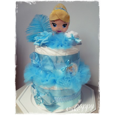 Gateau de couches 2 étages Cendrillon Nappy Cake