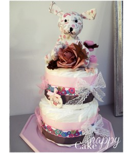 Gateau de couches Rose Printemps Nappy cake