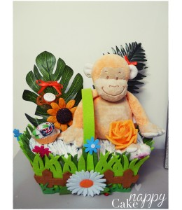 Gateau de couches panier fleuri rectangle petit singe Nappy Cake