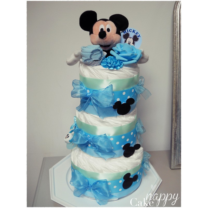 Gateau de couches 3 tages bleu mickey nappy cake cr ations - Decoration gateau anniversaire mickey ...